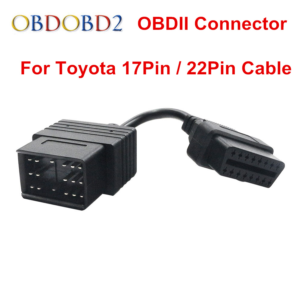 Car OBD II Cable For <font><b>Toyota</b></font> 17Pin & <font><b>22Pin</b></font> Male to 16Pin OBD 2 Female Diagnostic Connector For <font><b>Toyota</b></font> 17 Pin 22 Pin OBDII Adapter image