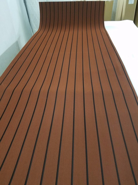 Marine Boat Eva Teak Decking Sheet Dark Brown With Black Stripe 35