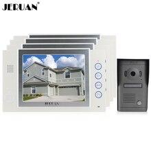 JERUAN Luxury Home Wired 8 inch video door phone speaker intercom system 4 white record monitor 700TVL metal panel IR Camera