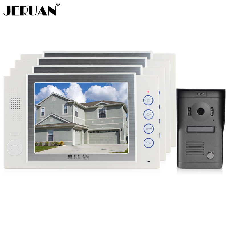 JERUAN Luxury Home Wired 8 inch video door phone speaker intercom system 4 white record monitor 700TVL metal panel IR Camera jeruan 8 inch video door phone high definition mini camera metal panel with video recording and photo storage function