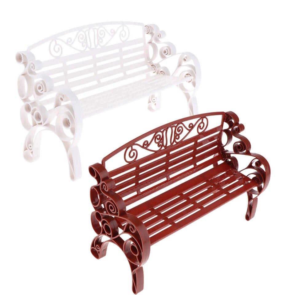 Brown Plastic Garden Patio Park Bench 1:6 Dollhouse Miniature Furniture