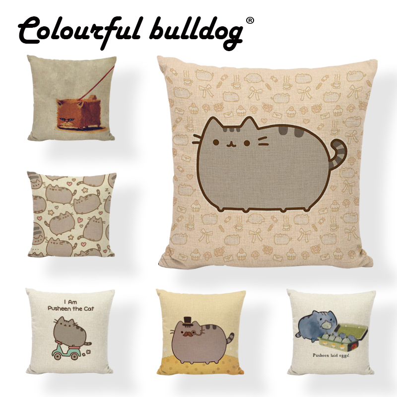 Wholesale Animal Cushion Cover 43*43 cm Funny Lovely Cookies Cat Home Cartoon Print Car Decorate Children Room Throw Pillow Case