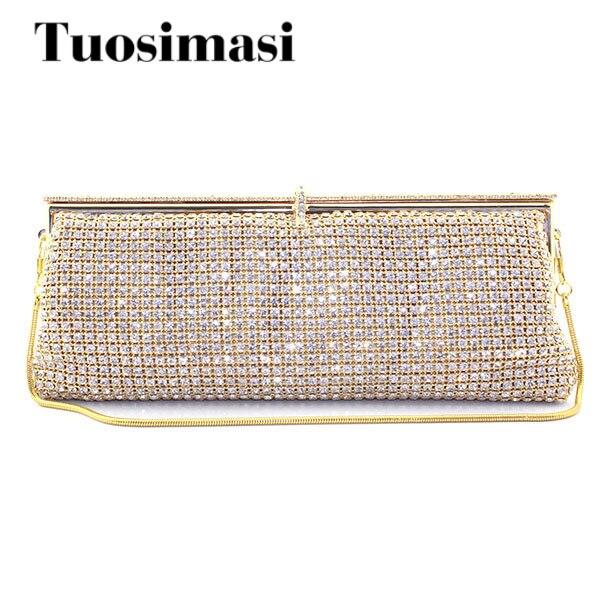 Strass cristal de diamant de mode de luxe femmes jour d'embrayage d'or petit sac à main sac avec la chaîne d'épaule sacs à bandoulière dîner sacs