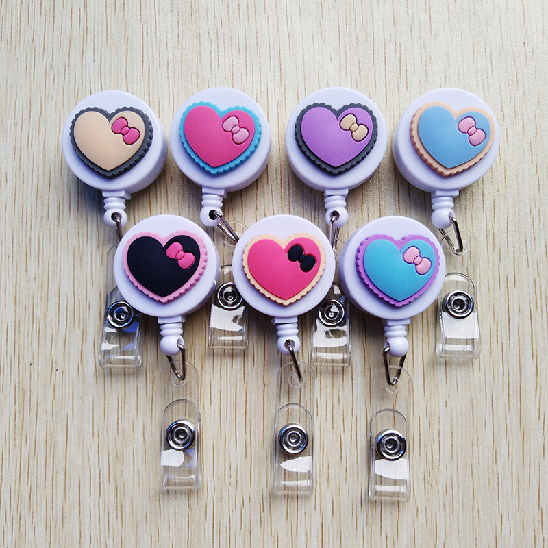 7pcs Silica Gel Heart Shape Badge Reel  Bus Card Student Nurse ID Name Card Badge Holder Cultural And Educational Office Supplie