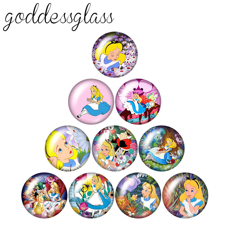 Grils Gift PrincessesCinderella Snowwhite 10pcs 12mm/18mm/20mm/25mm Round Photo Glass Cabochon Demo Flat Back Making Findings