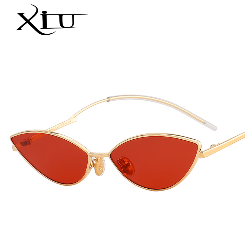 c911241160a XIU Retro Cateye Sunglasses Women Yellow Red Lens Sun glasses Fashion Light  Weight Sunglass for women Vintage Metal Eyewear