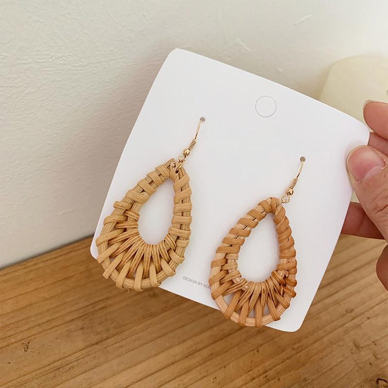 19 New Korea Handmade Wooden Straw Woven Rattan Vine Braid Geometric Large Circle Square Long Drop Earrings For Women Girl 4
