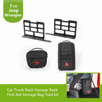 Auto Trunk Interior Metal Rack Storage Shelves + Tool Kit Storage First Aid Bag For Jeep Wrangler JK 2007 Up Car Styling