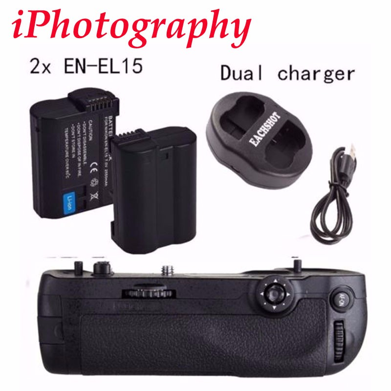 EACHSHOT MB-D17 Replacement Battery Grip for Nikon D500 Digital SLR Cameras  + EN-EL15 battery As the MK-D500 battery grip meike mk d800 mb d12 battery grip for nikon d800 d810 2 x en el15 dual charger