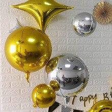 2 uds. De globos de aluminio redondos 4D 32 22 18 10 pulgadas, globo de Metal para fiesta de cumpleaños, globo de helio, juguetes de decoración para niños