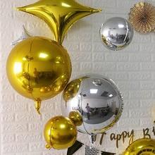2Pcs 4D 32 22 18 10 นิ้วรอบอลูมิเนียมฟอยล์บอลลูนโลหะบอลลูนวันเกิดฮีเลียมบอลลูนงานแต่งงานตกแต่งของเล่นเด็ก