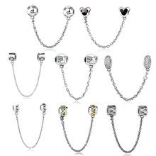 INBEAUT 100% Real 925 Sterling Silver Cute Heart Flower Lovely Safety Chain Beads fit Pandora Charms Bracelet Fine Jewelry