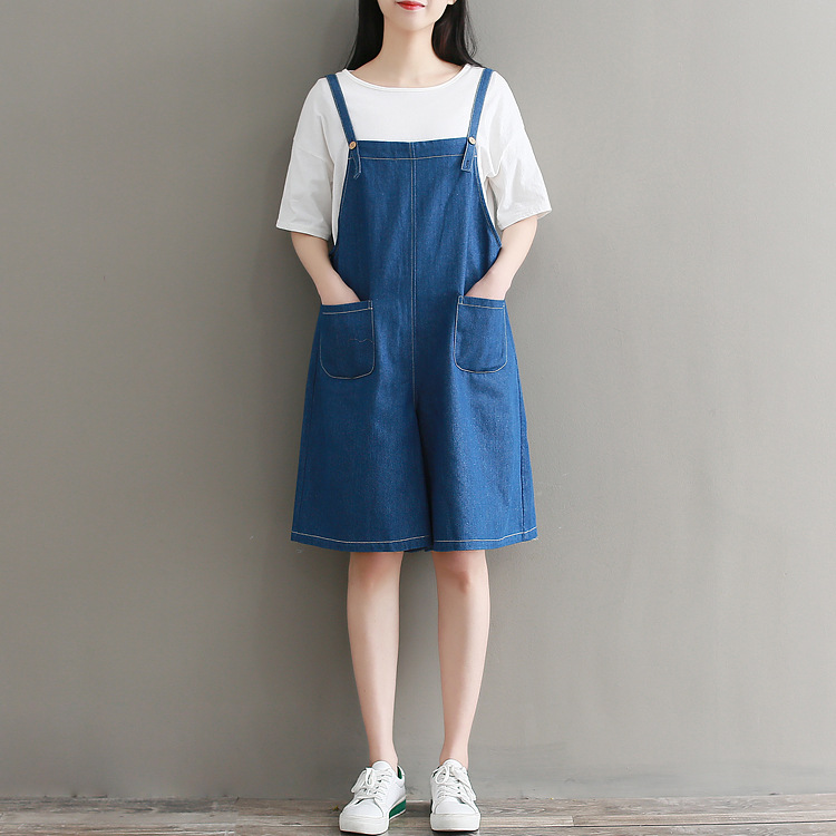 College Style Summer Women Clothing New Denim Short Feminino Overalls Dungarees Women Romper Casual Washed Blue Fashion Jeans
