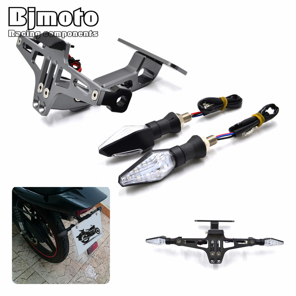 Universal Motorcycle Adjustable Angle Aluminum License Number Plate Frame Holder Bracket With LED Turn Signal Light Flashers motorbike adjustable angle aluminum license number plate holder bracket universal for triumph tiger 800 1050 rocket iii street t
