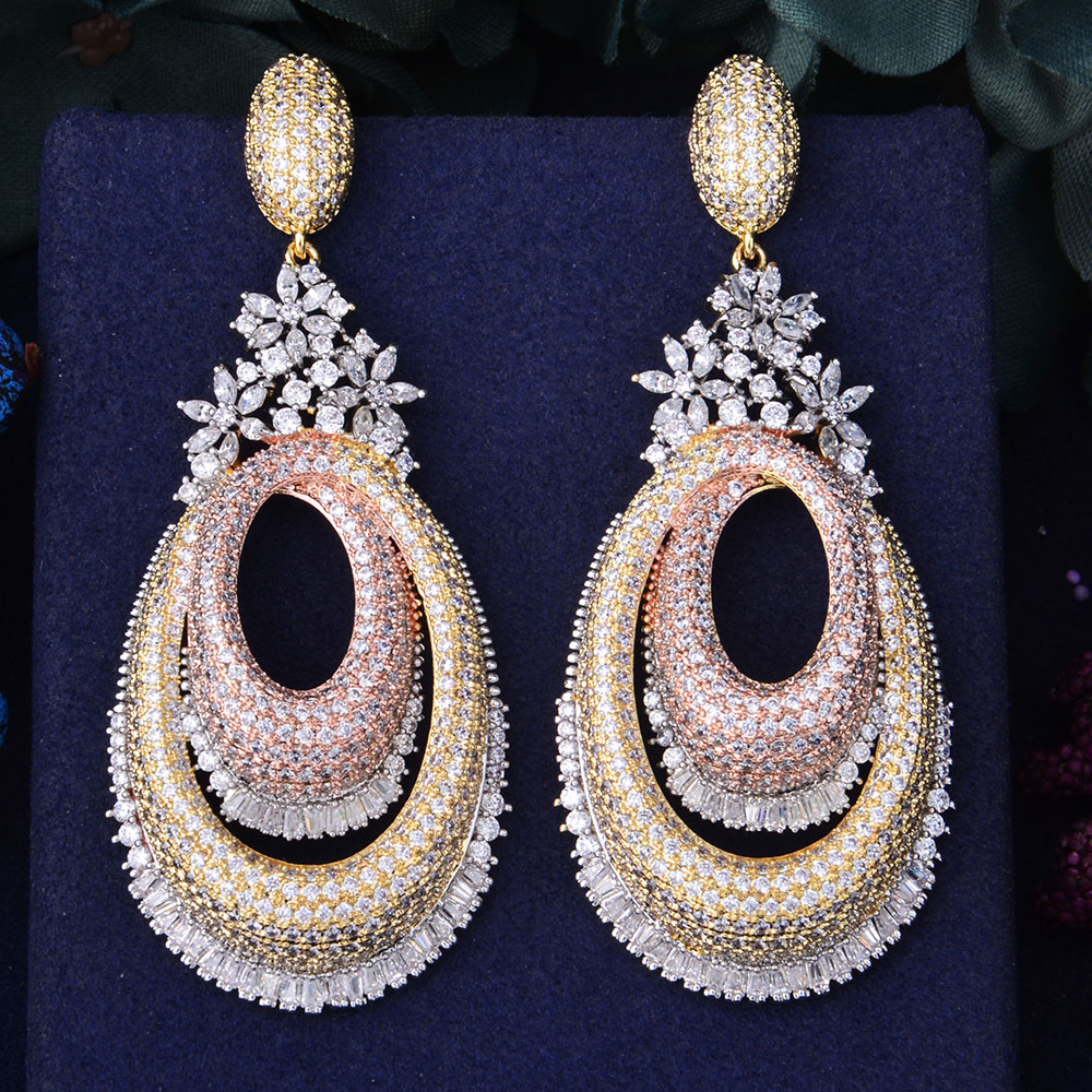 GODKI 72mm Luxury Floral Flower Hollow Geometry Full Mirco Paved Microl Zirconia Naija Wedding Earring Fashion Jewelry