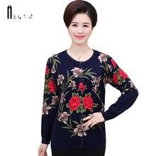 Asltw женский кардиган осень модный принт с длинным рукавом однобортный плюс Размеры цветок Вязание Кардиганы свитер для Для женщин
