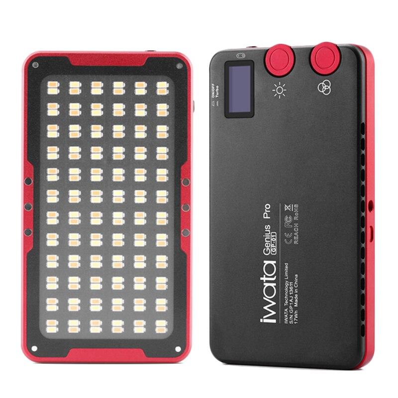 Iwata GP-01 24 W 144 LED lumière de remplissage 2600 K-6000 K batterie au Lithium intégrée Portable téléphone extérieur vidéo lumière photographie