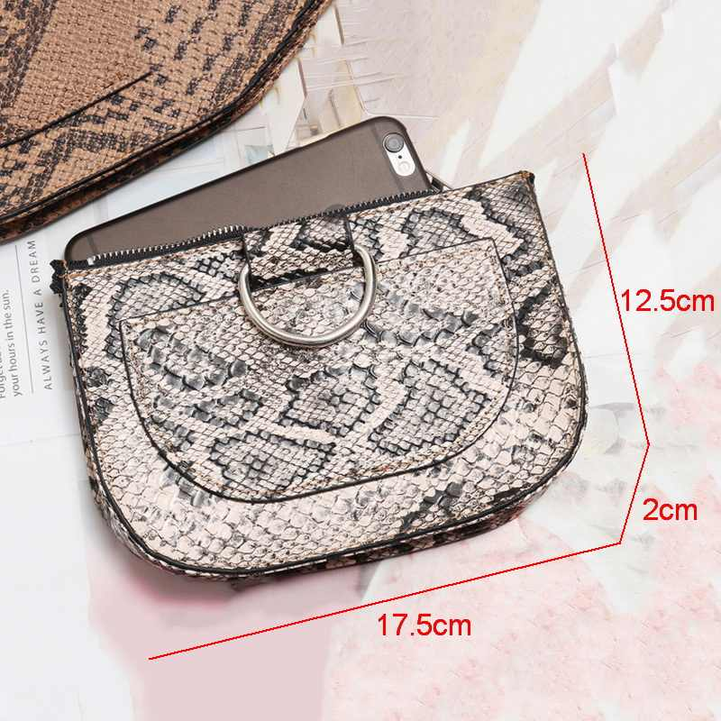 Ansloth New Vintage Design Women's Bags Fashion PU Leather Waist Bags Classic Snake Pattern Belts Bag For Lady Phone Bag HPS355