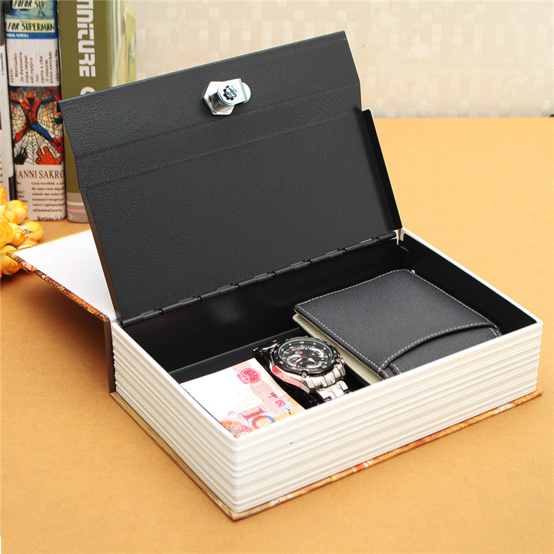Durable  Home Security Dictionary Book Hidden Safe Cash Jewelry Storage Key Lock Box Deco 24.2*15*5.5cm steel safe box key lock money jewelry storage security box for home school office with compartment tray lockable safes size xl