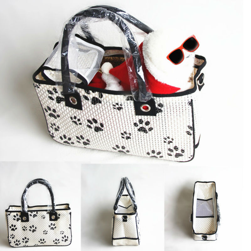New Weaving White Pet Carrier Small Dog Bag Tote Carrying For Airline Roved Travel Handbag Whole In Carriers Strollers From