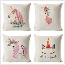 Fokusent 45x45cm Cartoon Unicorn Flamingo Throw Pillow Case Home Bedroom Soft Square Linen Cushion Cover Office Car Sofa Decor(China)