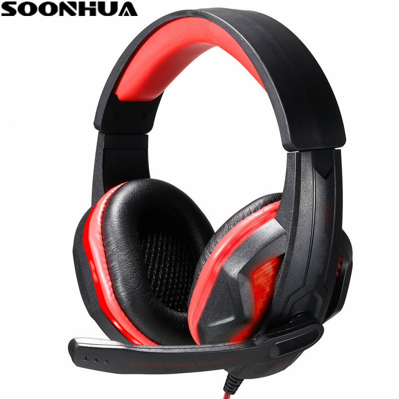 SOONHUA 3.5mm Jack LED Gaming Headset Gamer PC Headphone Headband Stereo Game Earphone With Microphone For Computer