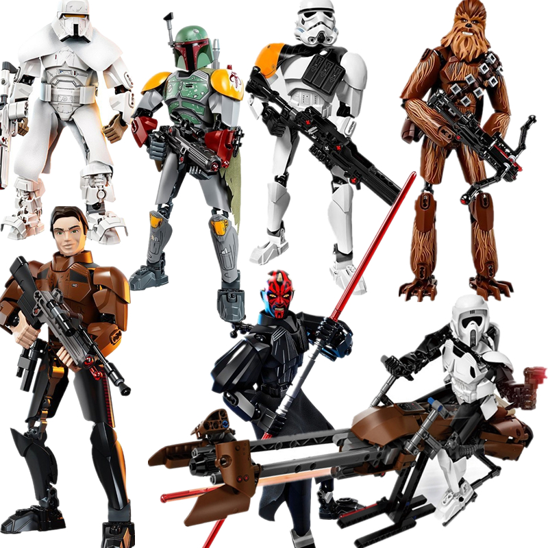 New Legoings Star Wars Darth Maul Chewbacca Jango Phasma Jyn Erso K-2SO Darth Vader Grievous Figure Building Blocks star wars figures jedi chewbacca han solo darth vader leia legoing jango fett obi wan models & building toys blocks for children