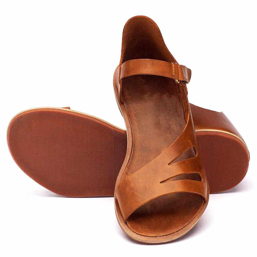 CHAMSGEND קיץ נעלי נשים מוצק צבע הולו שטוח נעלי רומא נעלי לנשימה פראי מזדמן אור סנדלי סנדלים חיצוניים