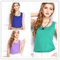 Мода весна-Лето женщины топы высокое качество и долговечность шифона без рукавов тройники повседневная твердые многоцветный рукавов блузка