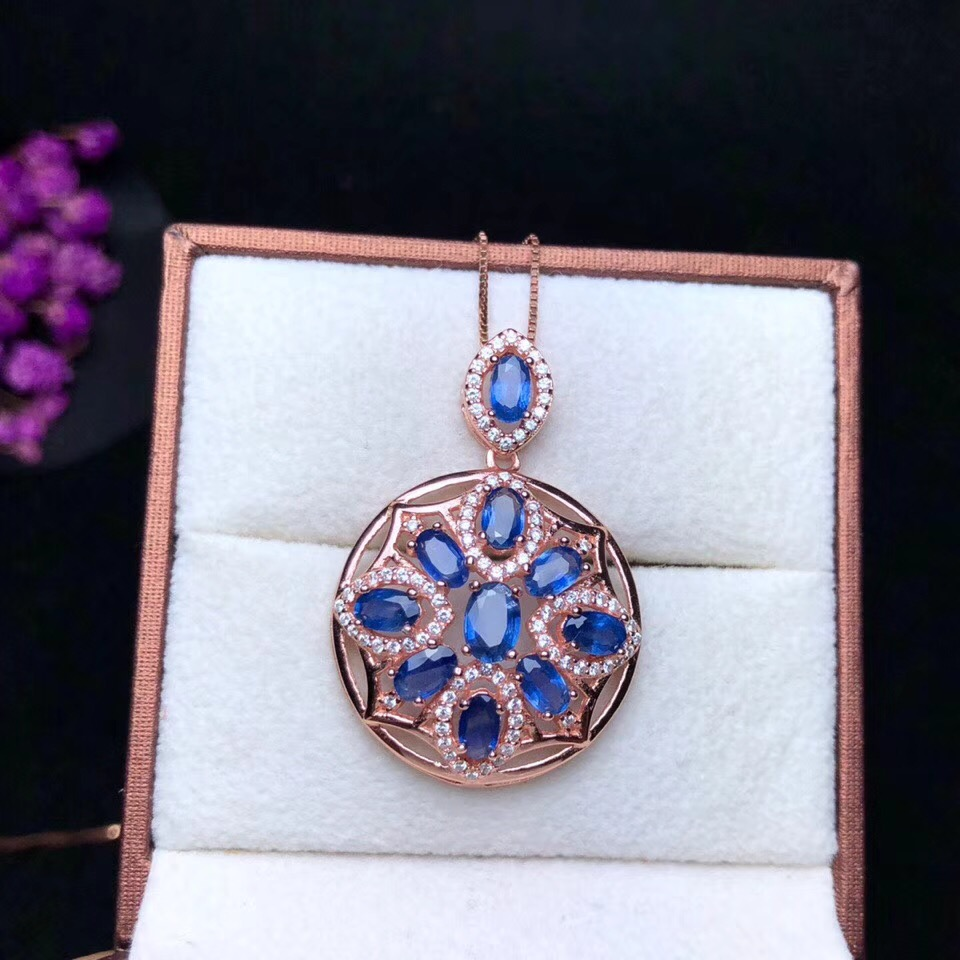 Uloveido Blue Sapphire Stone Round Pendant Necklace Women 925 Sterling Silver Gemstone Fine Necklace Pendant for