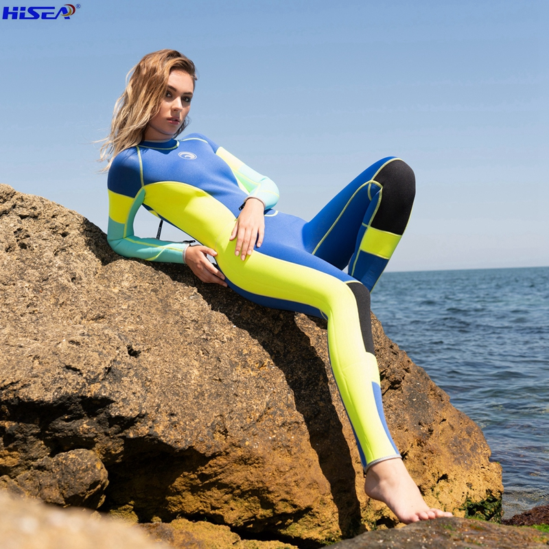 Hisea Woman one piece High Elastic 3mm neoprene wetsuit Surfing diving suit Bright color splicing classic