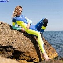 Hiseaผู้หญิงOne Pieceยืดหยุ่นสูง3มม.Neoprene Wetsuit Surfingชุดดำน้ำBrightสีSplicingคลาสสิกแขนยาวชุดว่ายน้ำ