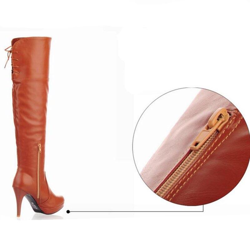 Taoffen Hiver Livraison Neige Chaussures Genou Gratuite Boot P8280 Mode Eur 43 Taille Plates Chaud marron Sexy Bottes 33 Noir Femmes Long De rr0qdp