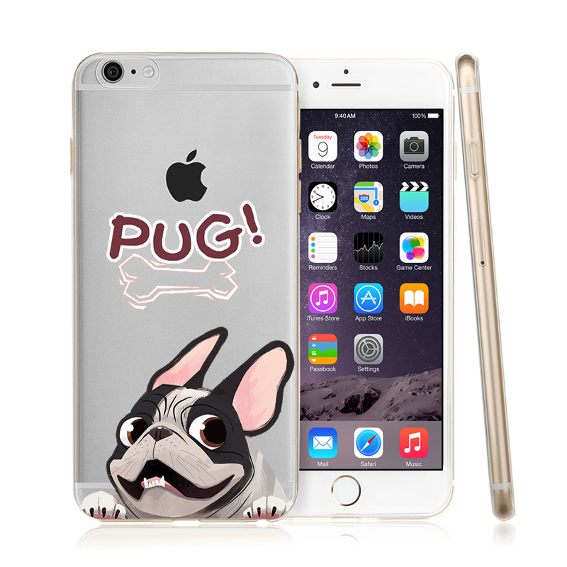 Pocket Dog Cat Minnie TPU Phone case for iphone 7 5 5S SE For iphone 6 6s 6 7 8plus X BullDog Pug Pattern Silicone case in Fitted Cases from Cellphones Telecommunications