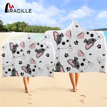 Miracille Gentleman Dog Hooded Towel Cute Microfiber For Adults Bathroom Wearable Towels Beach Blanket serviette