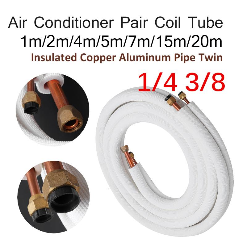 1/2/4/7/15m Insulated Copper Pipe 1/4'' 3/8'' Air Conditioner Pipes Fittings Pair Coil Tube Split Line Wire Set Air Conditioner