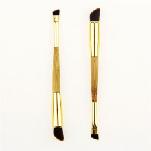 1PCS Fashion Beauty Natural Bamboo Handle Bent Double End Eyeliner Brush + Lip Eye Liner Makeup Tools