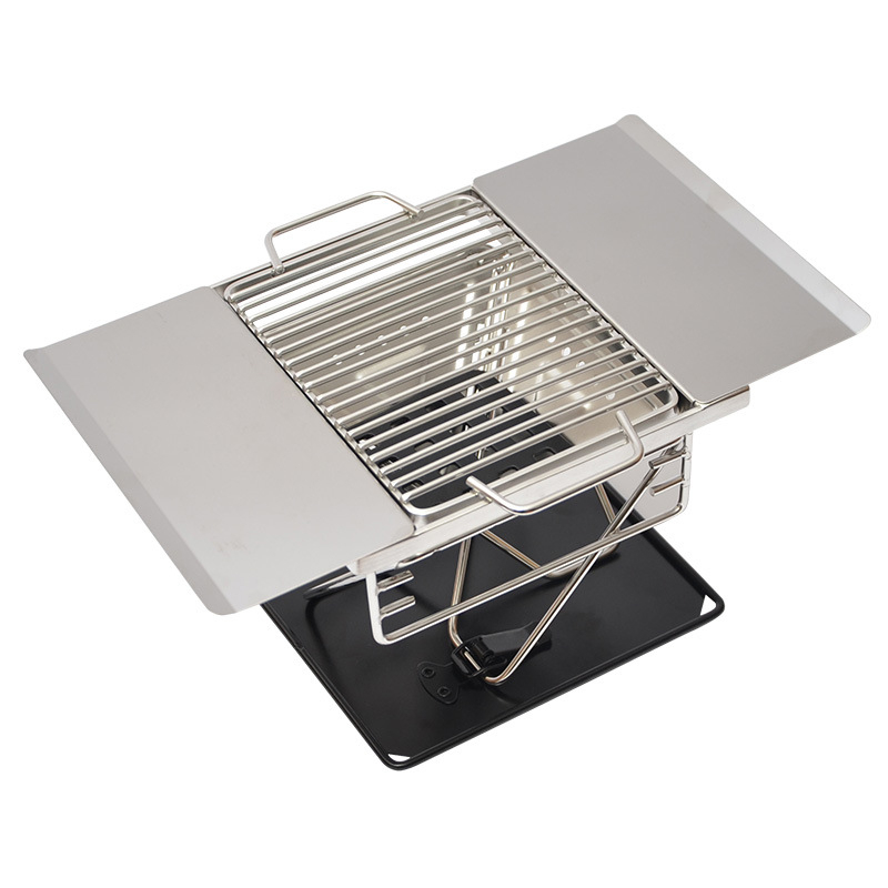 Stainless Steel BBQ Charcoal Grill Outdoor Camping Folding Portable Cooking Stove Household Barbecue Tools