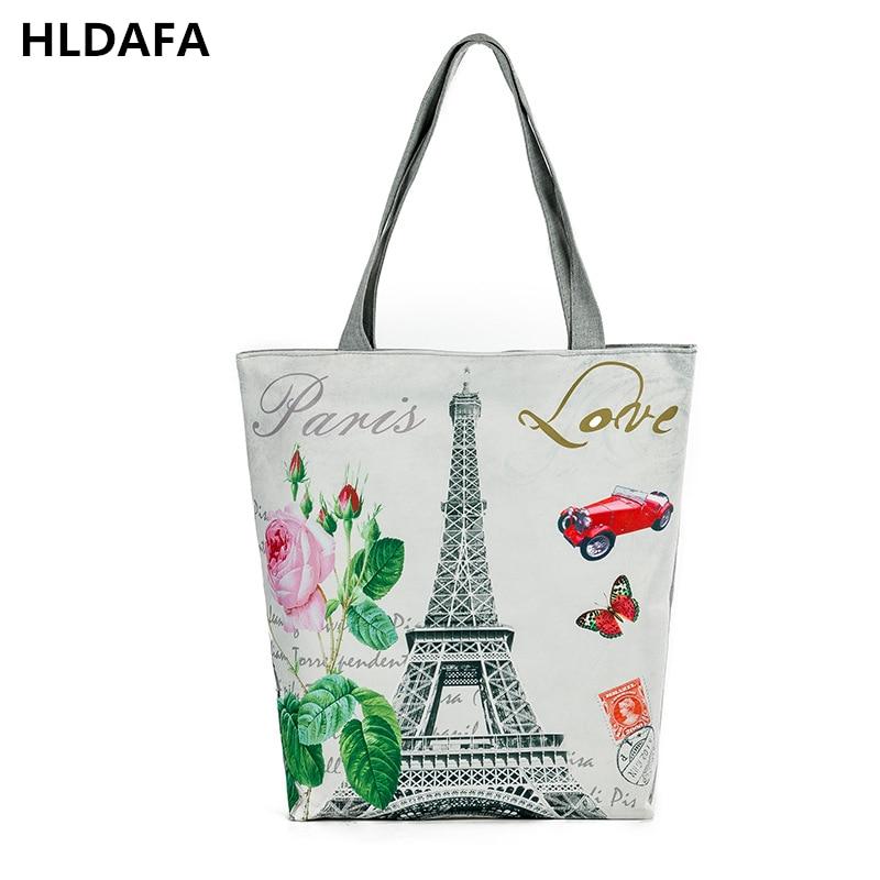 2018 New Women Canvas Beach Bag Paris Tower Printed Female Shoulder Bags Tote For Girls Single Shopping Bag Top-Handle Bag Bolsa сумки для детей zipit сумка premium tote beach bag
