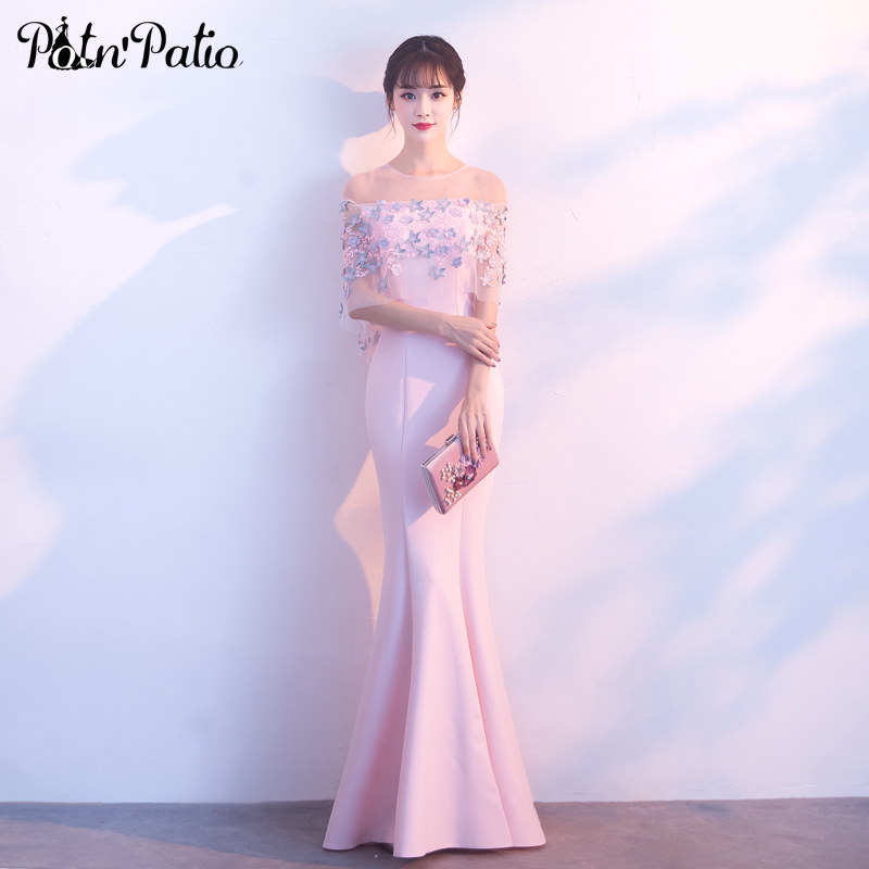 Elegant Pink Mermaid Dress For Evening Party 2019 New Spandex Satin Evening Gowns Long With Lace Jacket