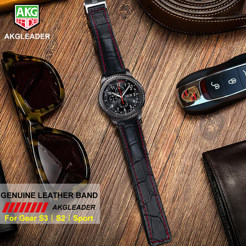 AKGLEADER Wrist Strap For Samsung Galaxy Watch Genuine Leather Watch Band For Samsung Gear S3 Sport