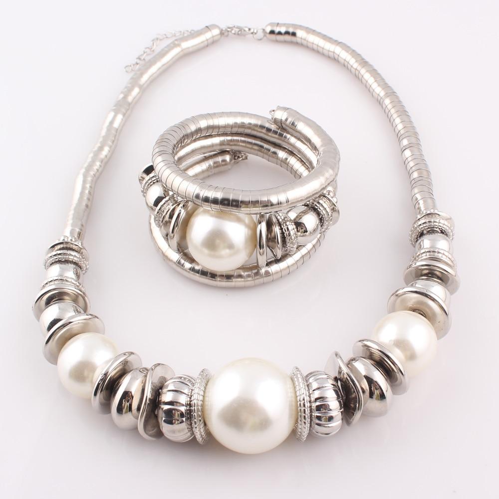 2017 mode kvinnor simulerade pärla orm halsband armband smycken - Märkessmycken - Foto 2