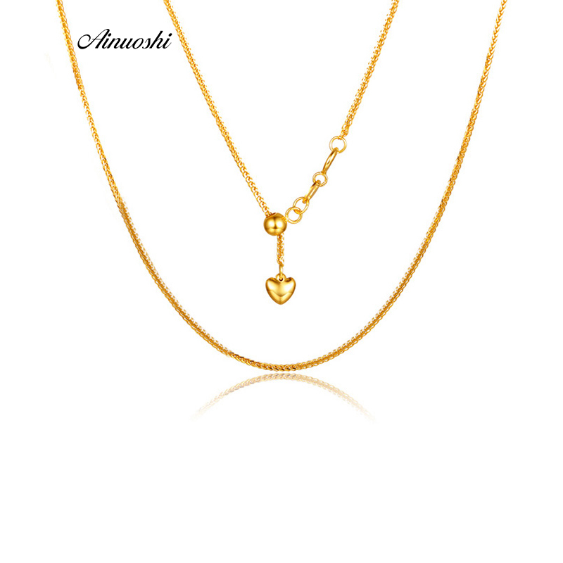 AINUOSHI Pure 18K Solid Rose Gold/Yellow Gold/White Gold Women Pendants Necklace Heart Love Wedding Chain Christmas Jewelry 18'' недорго, оригинальная цена