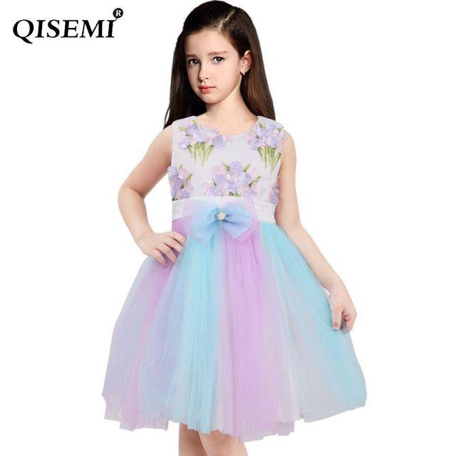 475c2037b2f Teen Flower Girls Dress Rainbow Princess Unicorn Dress With Headband  Vestidos Costume Summer Cute Dress for Kids Birthday Party