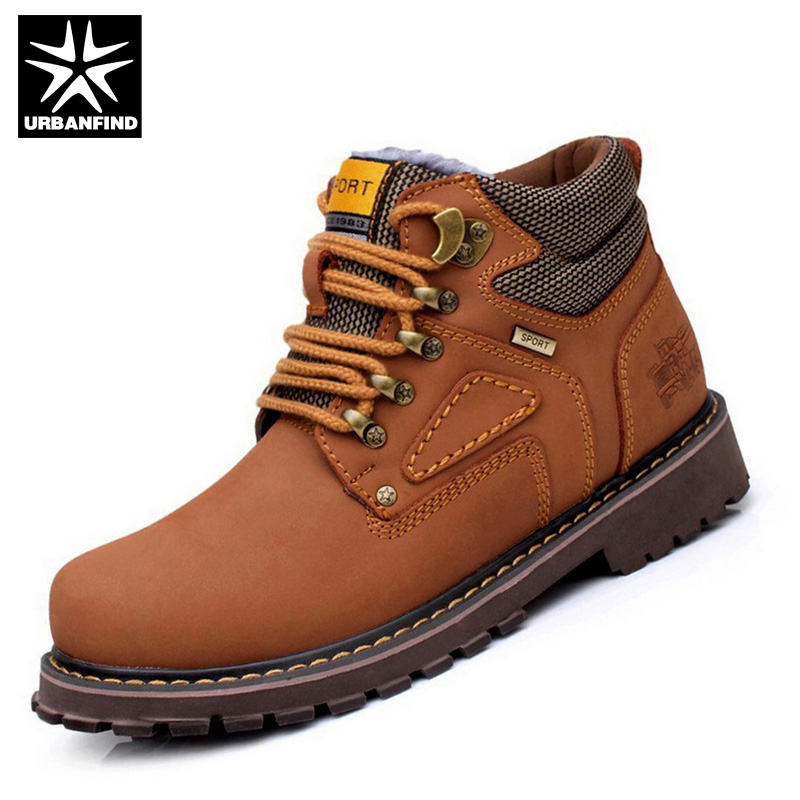 URBANFIND Winter Men Boots Shoes Keep Warm Plush Inside Large EU 38-44 Vintage Man Leather Shoes Lace Up Fashion Men Shoes