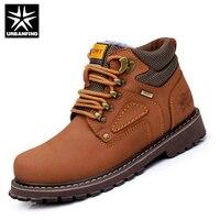 Büyük URBANFIND Kış Erkekler Boots Ayakkabı Içinde Sıcak Peluş Tutmak AB 38-44 Vintage Adam Deri Ayakkabı Lace Up Moda Erkekler ayakkabı