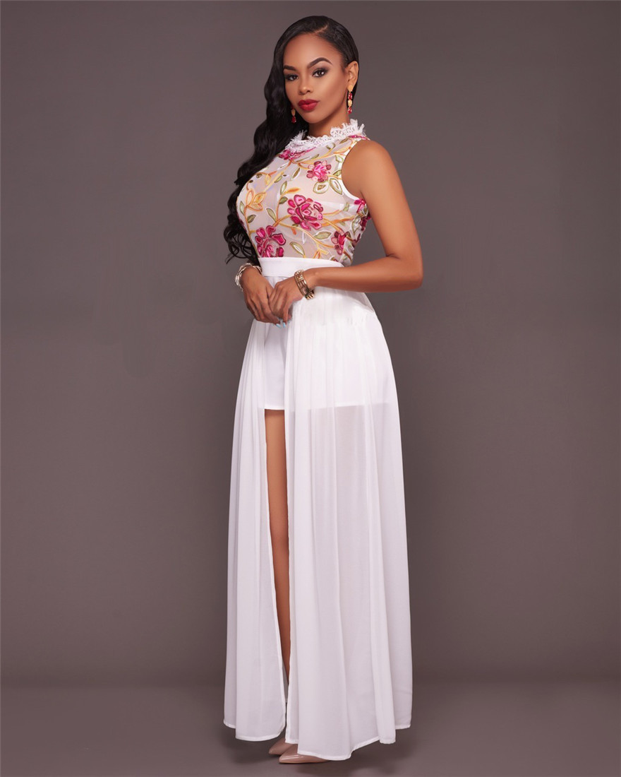 e8d9c3ab695d Women Elegant Jumpsuit Romper 2017 New Fashion Sexy Mesh embroidery Summer  jumpsuit rompers maxi Black White Pink Party Rompers-in Rompers from Women s  ...