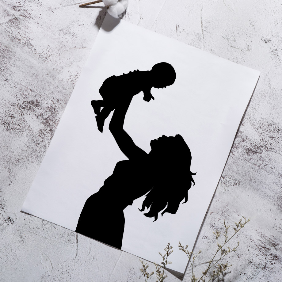 Us 3 01 47 offblack white girl boy balloon star silhouette wall art canvas painting nordic posters and prints wall pictures kids room decor in