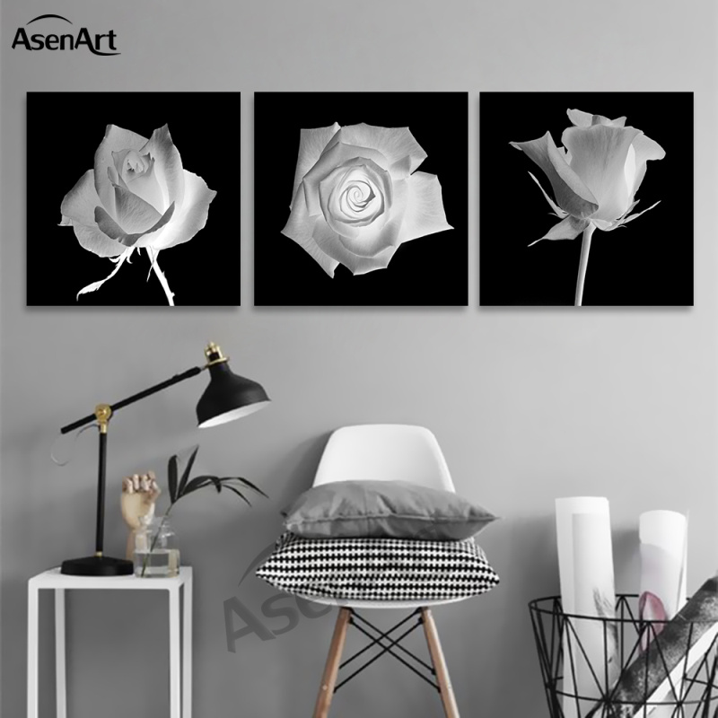 Wall art black and white flower pictures 3 panel oil for Black and white paintings for bedroom