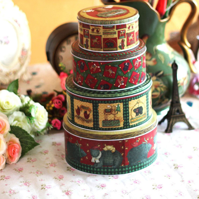 4pcslot christmas decorations for home tin storage sealed christmas candy christmas tin gift boxes - Candy Christmas Decorations
